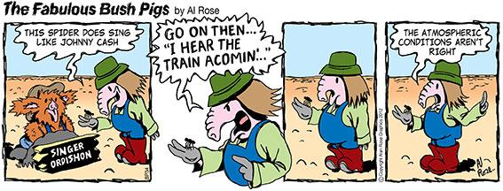 Pig tries to get spider to sing Folsom Prison