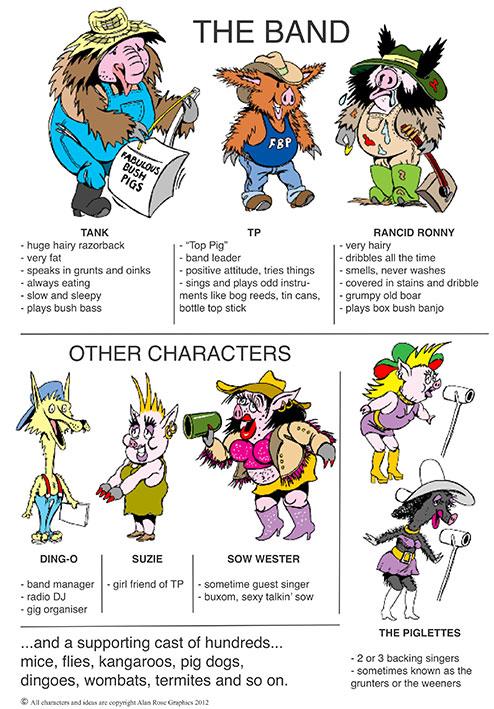 Fabulous Bush Pig Characters