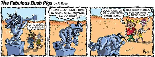 """Ronny dresses as a statue has a rest. Pigs say """"Statue of Tired Banjo Player"""""""