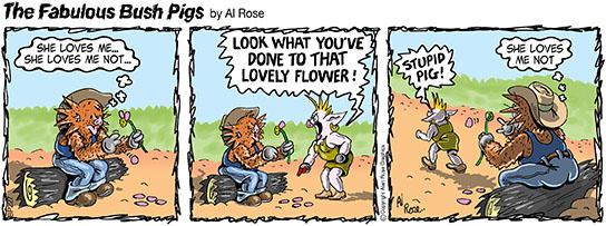 pig picks petals off flower
