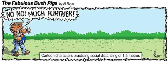 virus cartoon characters practice social distancing