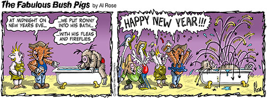 Ronny's fleas and fireflies jump in a bath for New Year