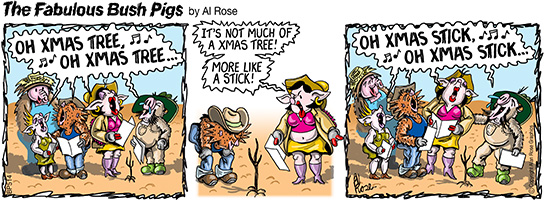 The real Fab Bush Pigs Xmas cartoon